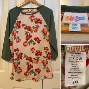 LuLaRoe top, Randy with floral print, size 2X